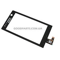 Сенсорный экран (тачскрин) для Sony ST25i Xperia U черный (Оригинал)