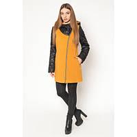 Пальто стильное женское демисезонное из двух видов ткани АЛ42Г