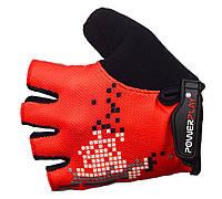 Перчатки для велосипеда PowerPlay на липучке красные