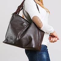 Большая коричневая сумка-мешок объемная мягкая