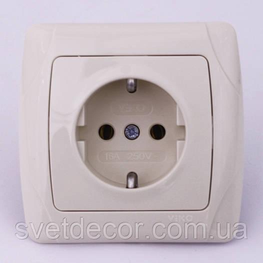 Розетка электрическая VIKO Carmen скрытой установки одинарная с заземлением