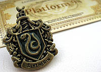Герб Значок Слизерин из Гарри Поттера (бронзовый цвет), брошь Драко Малфоя