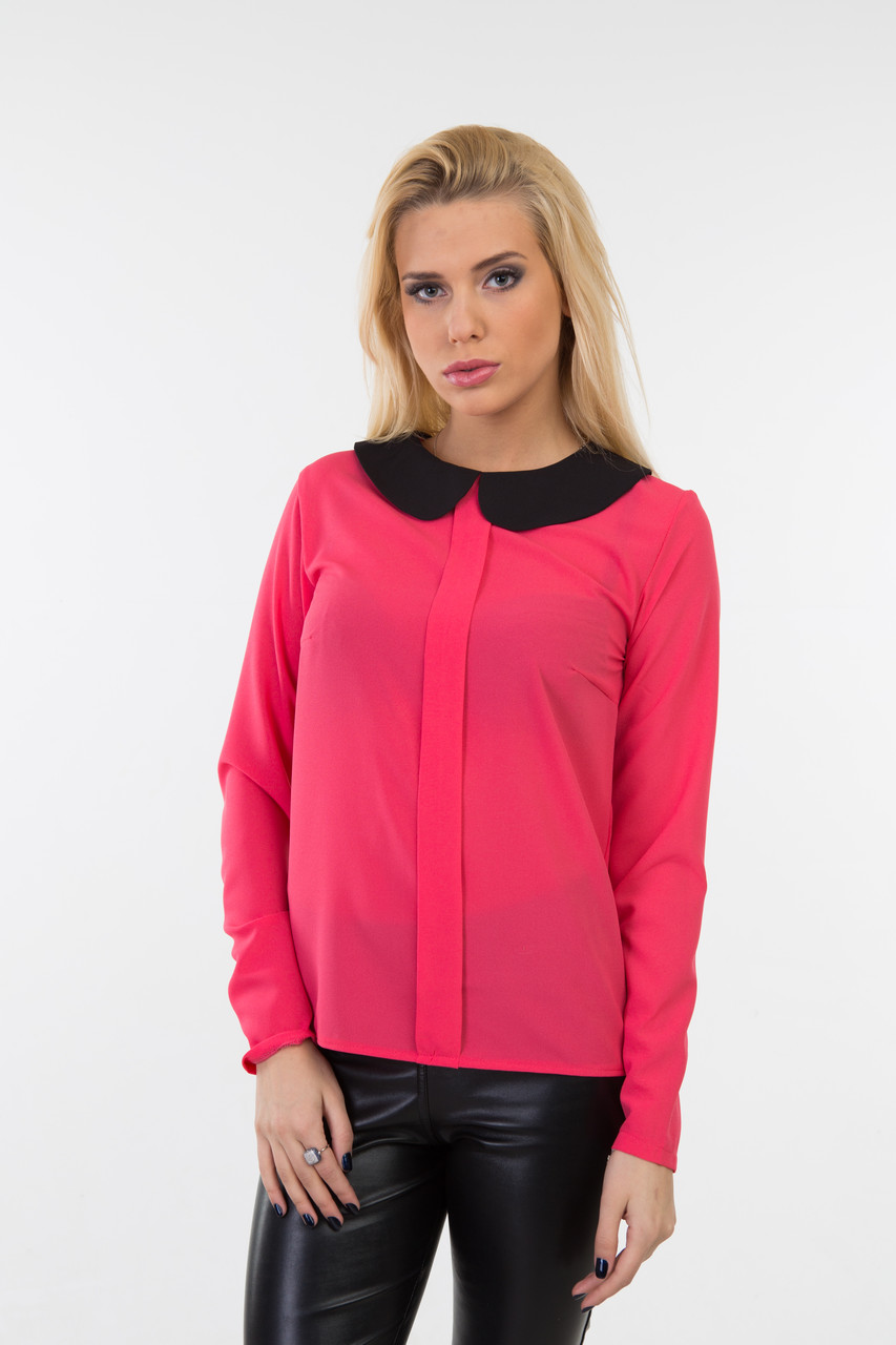 Женская блуза из креп-шифона с воротником