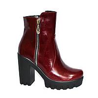 Ботинки бордовые кожаные женские на байке, декорированы молнией, высокий каблук., фото 1