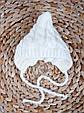 Вязаная шапочка, молоко, на трикотаже 0-3 мес., фото 2