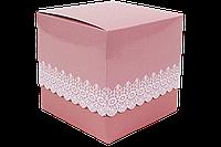 Упаковка для чашек из картона с принтом (розовая)
