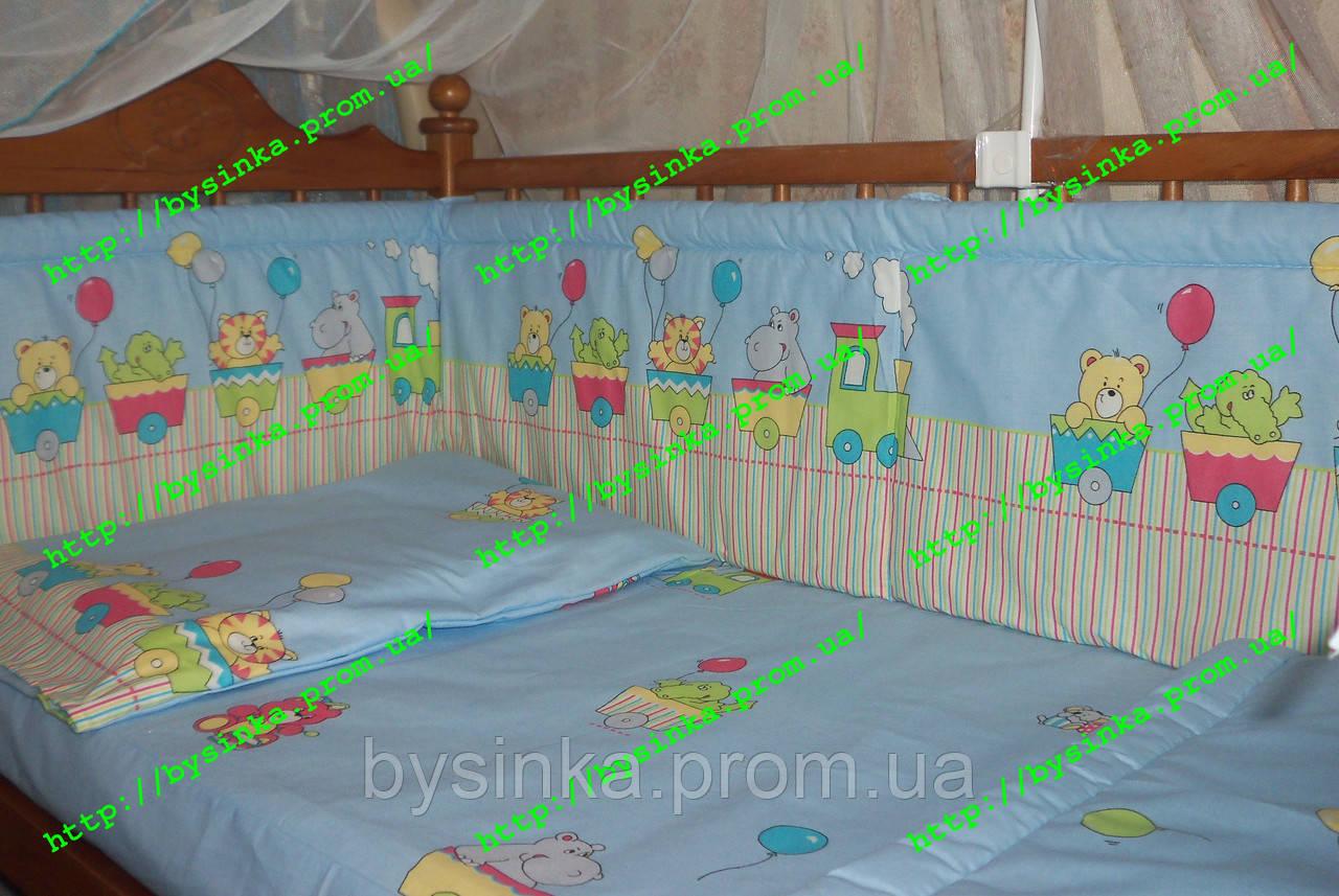 Постелька в детскую кроватку из 3-ед. Паровозики