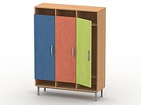 Шкаф для верхней одежды на металлокаркасе (3 секции)