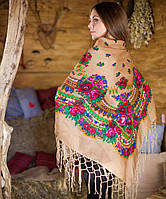Украинский женский платок кофейного цвета  (125х125см)