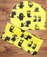 Шапки детские трикотажные двойные + хомут, цвета в наличии