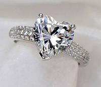 Кольцо, покрытое серебром с цирконом в форме сердца р 17 код 901