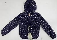 Куртка весенняя синяя в розовое сердечко для девочек.  рост 92-110. Венгрия.