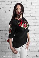 Блуза льняная Классика Маки