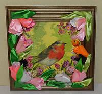 Картина  птичка декор, ручная работа, подарок ручной работы