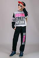 Детский трикотажный спортивный костюм для девочки VISION (черный)