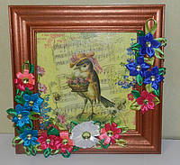 Картина  птичка музыкант, ручная работа