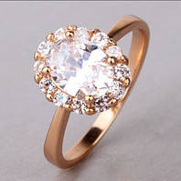Кольцо покрытие золото с цирконами р16.5,17.5,18.5 код 903