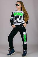 Детский трикотажный спортивный костюм для девочки VISION (черный+белый)