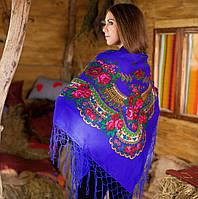 Украинский модный платок с цветами (125х125см,синий)