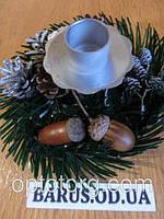 Подсвечник Новогодний декоративный 15 см*9 см серебро
