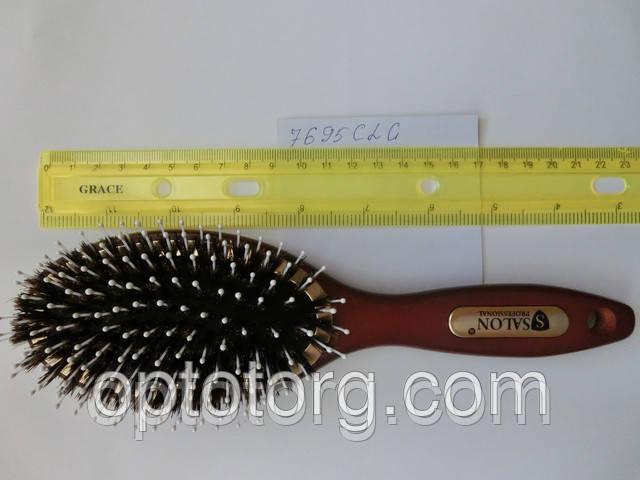 Расческа для волос массажная SALON PROFESSIONAL натуральный ворс дерево