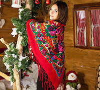 Женский украинский платок большого размера (125х125см, красный,новый)