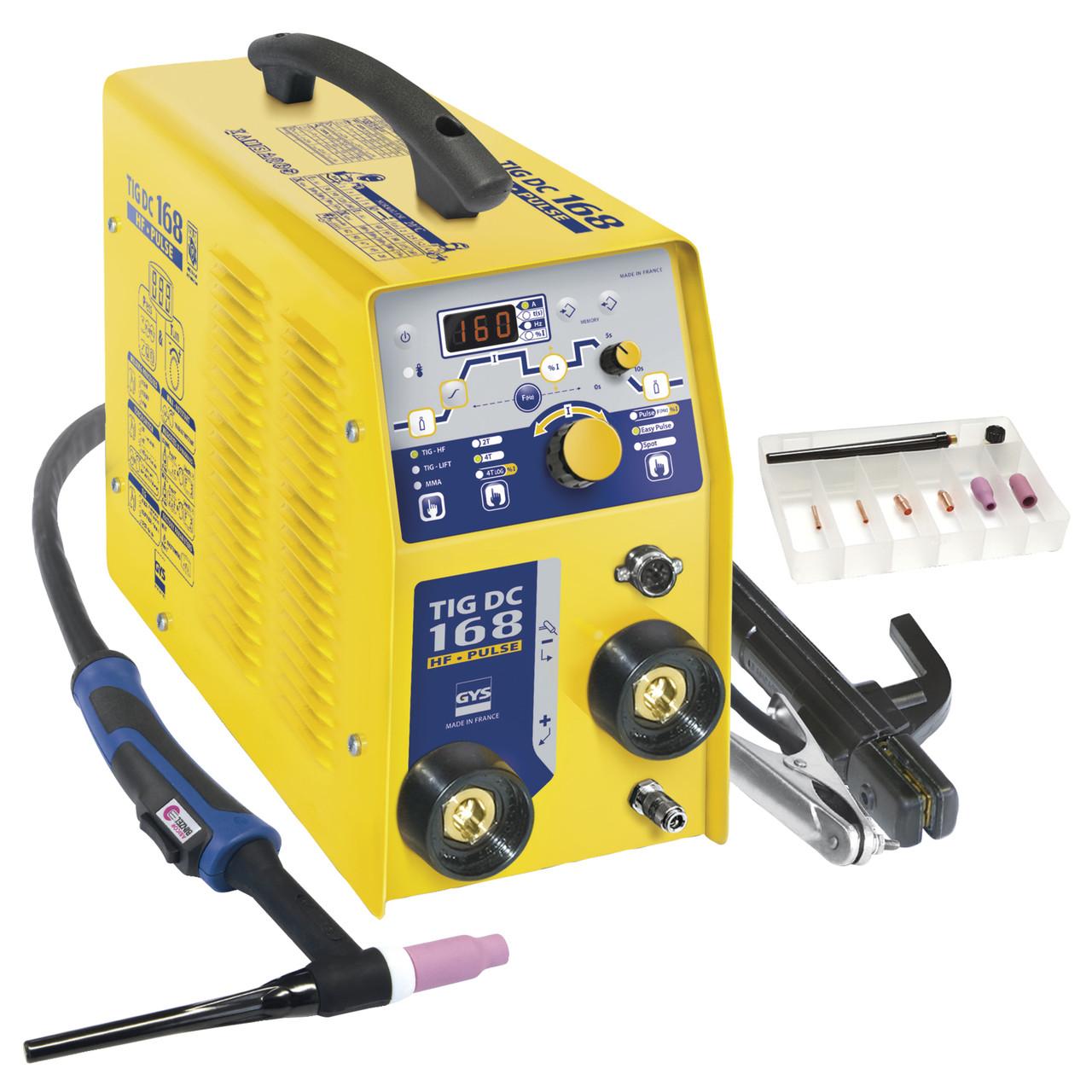 Сварочный инвертор GYS TIG 168 DC HF (аксессуары SR17DB-4M)