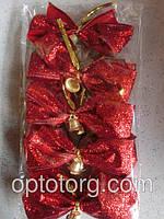 Новогодний бант на елку красный перламутр большие 14*13