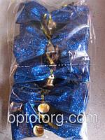 Новогодний бант на елку синий перламутр большие 14*13