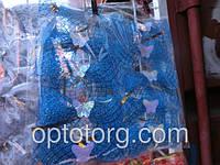 Новогодние украшения на елку сосну бант сеточка синий