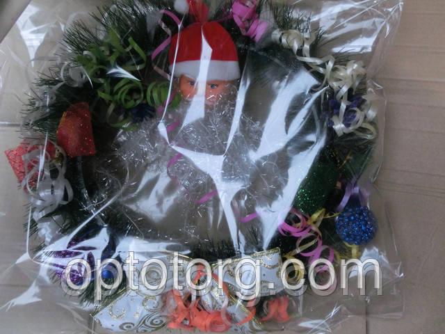 Венок Рождественский новогодние украшения объем 45см