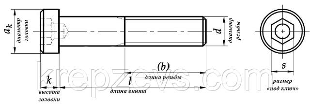 Винт М8 с цилиндрической головкой DIN 6912