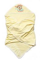 Качественное детское махровое полотенце для купания с капюшоном | 95 х 95 см Желтое