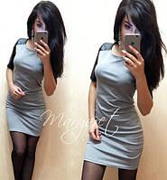 Платье с рукавами из экокожи