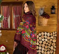 Украинский вишневый женский платок (125х125см,вишневый), люрекс.
