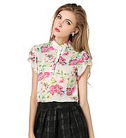 Блуза женская с коротким рукавом и цветочным принтом