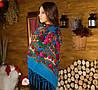 Украинский платок голубого цвета с бахрамой  (125х125см,голубой,новый)