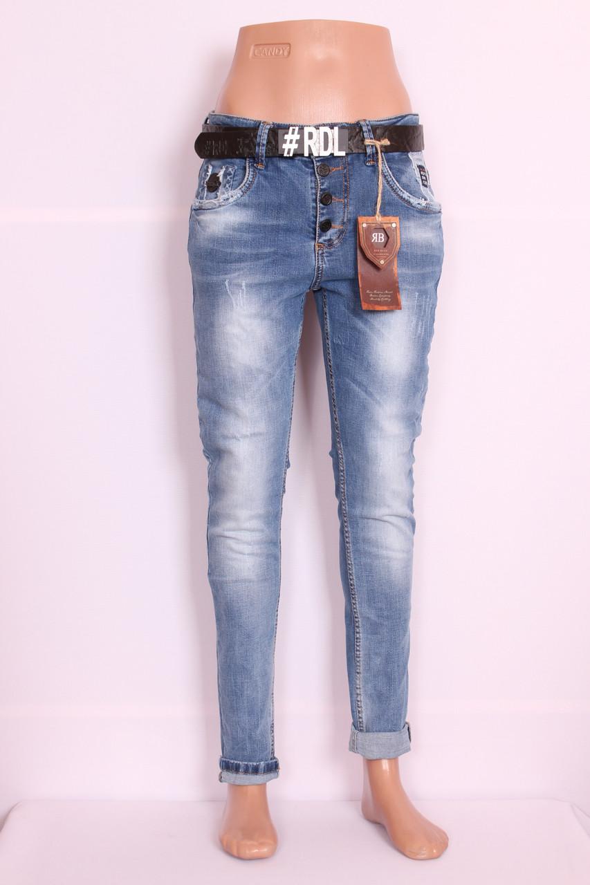 Женские турецкие джинсы бойфренды  Red blue код 1009