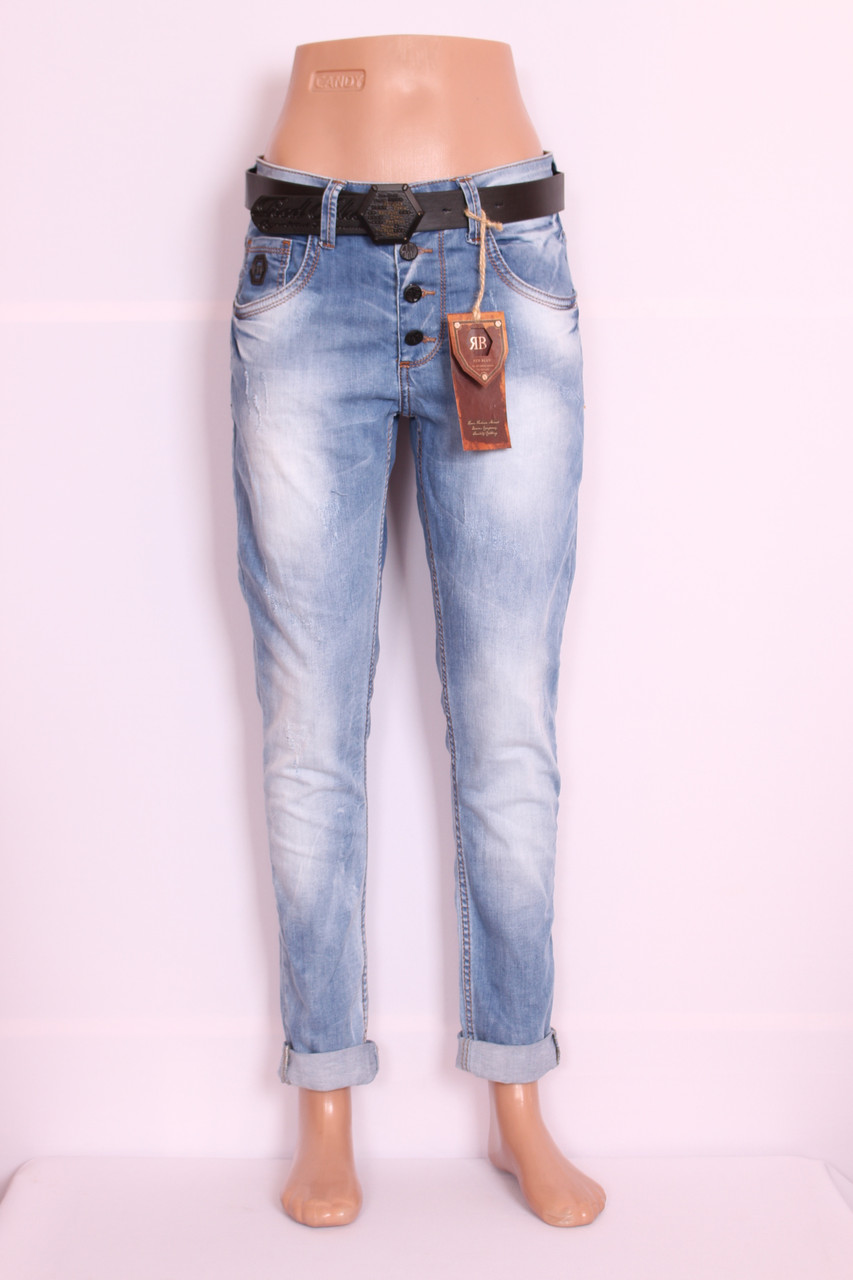 Женские турецкие джинсы бойфренды  Red blue код 1001