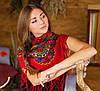 Молодежный украинский платок для девушек (100х100см,красный)