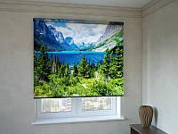 Рулонные шторы с фотопечатью озеро в лесу