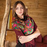 Яркий вишневый платок с бахромой (100х100см,вишневый)