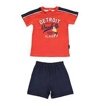 """Верх лето комплект из 2-х ед комплект""""футболка+шорты""""Detroit player мал. футболка - оранжевая,шорты - синие"""