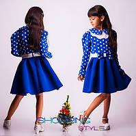 Модное платье для девочки ярко-синего цвета в белый горох  размеры 30,32,34,36,38,40