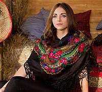 Модный украинский платок для женщин (100х100см,черный)