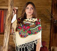 Женский платок с цветами и бахрамой  (100х100см,шампань)
