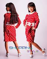 Нарядное платье для девочки красного цвета в горох  размеры 30,32,34,36,38,40
