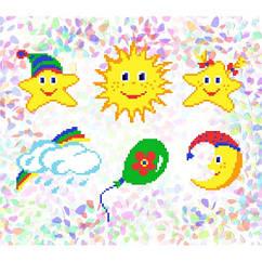 """Флизелин водорастворимый пришивной с рисунком """"Дитячі сни"""" Confetti 206"""