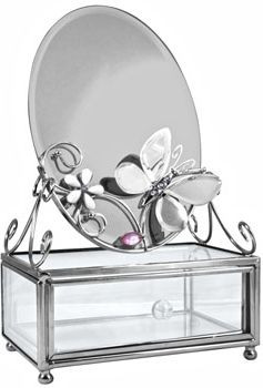 Красивая шкатулка с зеркалом Charme De Femme 300-MB-B серебристый