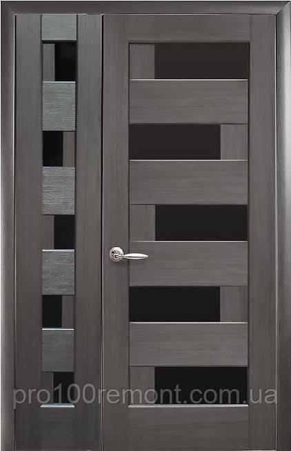 Комплект дверей двустворчатый Пиана с черным стеклом от Новый стиль (венге new, зол.ольха, каштан, ясень,grey)